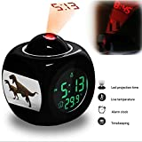 Projection Alarm Clock Wake Up Bedroom with Data and Temperature Display Talking Function, LED Wall / Ceiling Projection, Dinosaur-063.15_Megalosaurus dinosaur