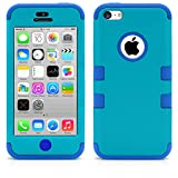 iPhone 5C Case, MagicMobile® Hybrid Impact Shockproof Cover Hard Armor Shell and Soft Silicone Skin Layer [ Teal - Blue ] with Free Screen Protector / Film and Pen Stylus