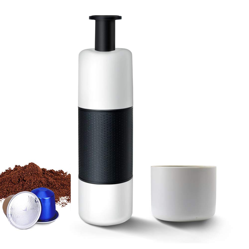LINMETIC Portable Espresso Machine,Travel Coffee Maker,Manually Operated, Compatible Original Capsules,Perfect for Camping, Travel, Kitchen and Office (White) by LINMETIC