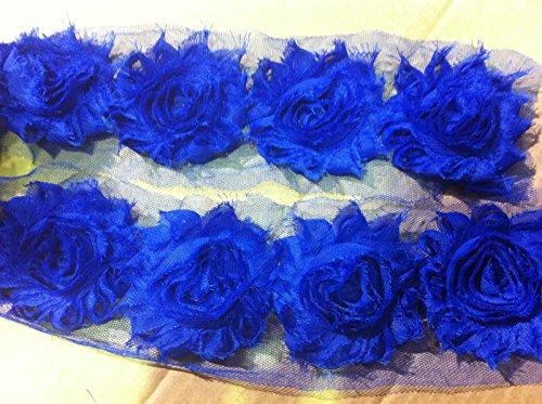 HomeBuy Flower Lace Trim - Frayed Chiffon Rose - Shabby Chic Bridal Flowers - 21 Colours Yard (Royal Blue)