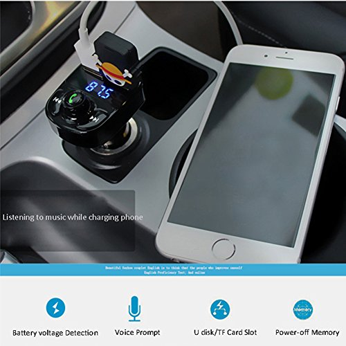 FM Transmitter Wireless Bluetooth FM Transmitter Car Kit Radio Adapter Receiver 4.2A USB Car Charger MP3 Music Player Read Micro SD Card USB Flash Drive and Battery Voltage by JINSERTA (Image #5)