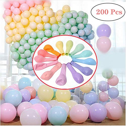 "200pcs Pastel Latex Balloons 10"" Macaron Candy Colored Latex Party Balloons for Wedding Graduation Engagement Birthday Party Christmas Baby Shower or Any Friends & Family Party Decorations- Multicolor"