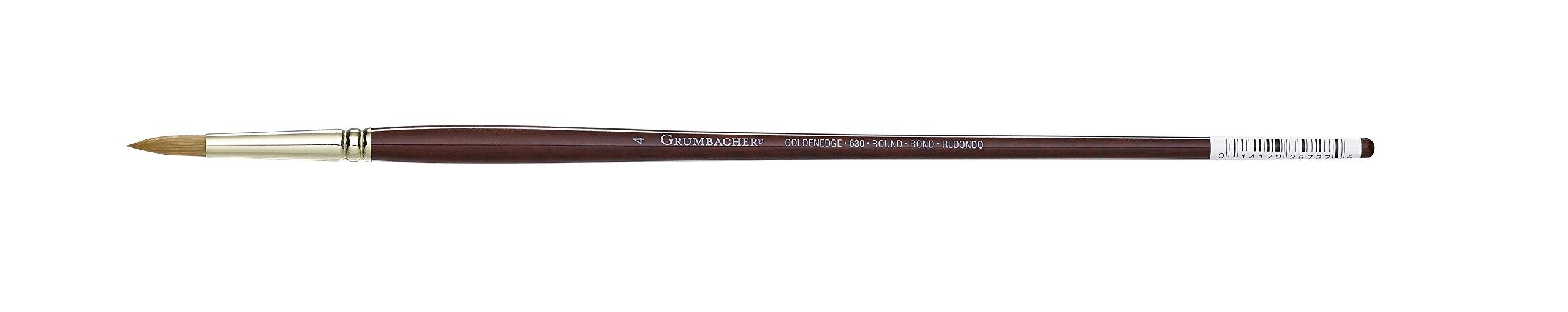 Grumbacher Goldenedge Golden Toray Round Oil and Acrylic Brush, Synthetic Bristles, Size 4 (630R4G)