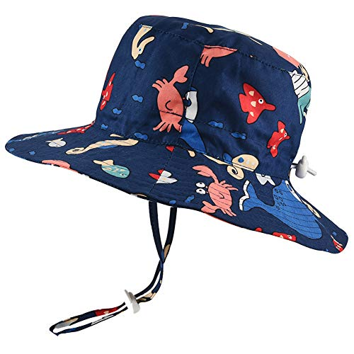 Baby Sun Hat Adjustable - Outdoor Toddler Swim Beach Pool Hat Kids UPF 50+ Wide Brim Chin Strap Summer Play Hat (18.9