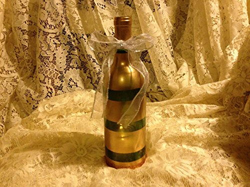 Horizontal Stripe Gold Painted Olive Green Glass Wine Bottle Party Candle Holder / Centerpiece (Green Stripes Wine)