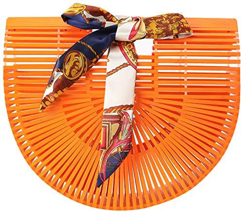 Obosoyo Women's Handmade Bamboo Handbag Summer Beach Sea Tote Bag (Orange-Large)
