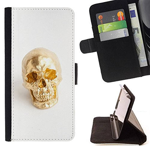 Nugget Scull White Minimalist Bling - Colorful Pattern Flip Wallet Leather Holster Holster Protective Skin Case Cover For Apple (5.5 inches!!!) iPhone 6+ Plus / 6S+ Plus (Fancy Nugget)