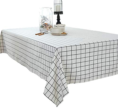 Elome Washable Classic Rectangular Cotton Linen White Check Tablecloth, Basic Everyday Tablecloth Dinner Picnic Table Cloth Home Decoration Assorted Size (55 Inch x 98 Inch)