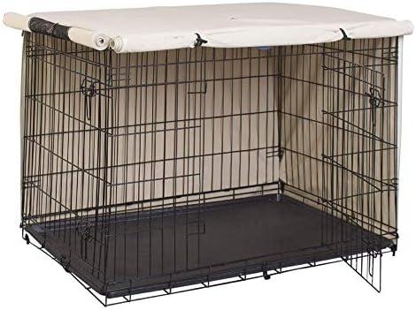 HEWYHAT Couverture de Cage de Chien, Heavy Duty 210D Oxford Housse de Cage de chenil étanche pour Animaux de Compagnie Protection Universelle pour Cage de Chien,Beige,94×61×63.5cm
