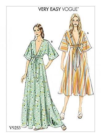 Vogue Damen Schnittmuster 9253 Tiefer V Kimono Stil Kleider: Amazon ...