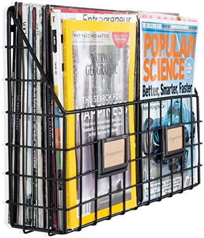 [해외]Wall35 리비스타 2 구획 다용도 벽걸이 농장 디자인 바구니 - 넓은 잡지 랙 금속 와이어 블랙 / Wall35 리비스타 2 구획 다용도 벽걸이 농장 디자인 바구니 - 넓은 잡지 랙 금속 와이어 블랙