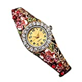 Creazy Women Quartz Luxury Crystal Flower Bracelet Watch (Red)