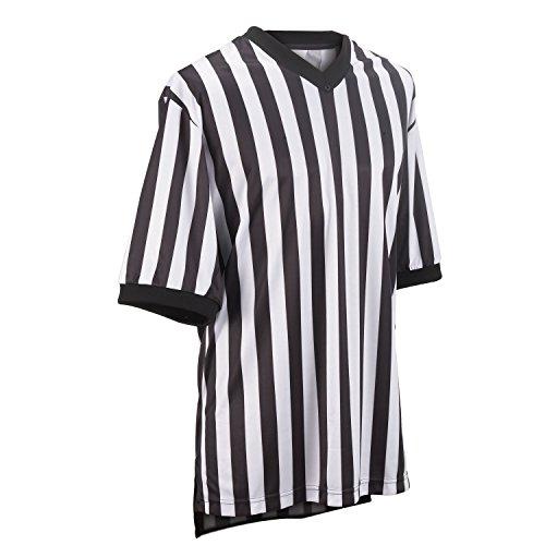 Smitty Referee Basketball Elite Short Sleeve V Neck Shirt, White/Black, Medium