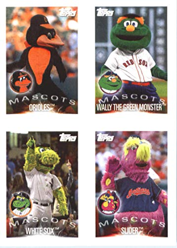 2019 Topps MLB Stickers Baseball #17/20/27/30 Baltimore Orioles/Wally The Green/Chicago White Sox/Slider/Miguel Cabrera Baltimore Orioles/Boston Red Sox/Chicago White Sox/Cleveland Indians/Detroit Tiger Mascots Trading Card Sized Album Sticker with Collectible Card Back