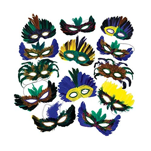 12 Feather Mardi Gras Masks Costume Party Masquerade]()