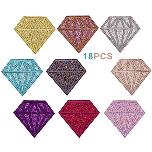 (18pcs Shiny Glitter Diamond Shape Iron on Patches Embroidered Motif Applique Decoration Sew On Patches Custom Patches for DIY Jeans, Jacket,Kid's Clothing, Bag, Caps, Arts Craft Sew Making (Diamond))