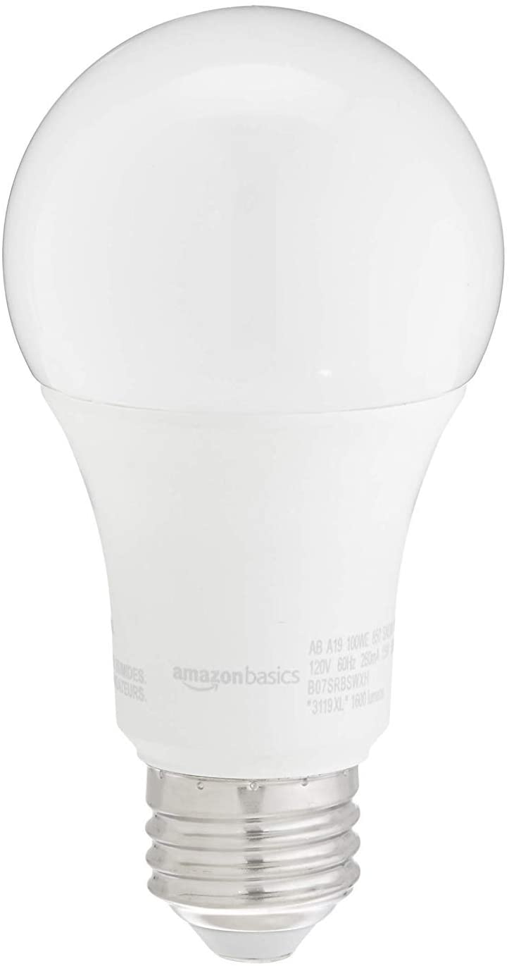 Amazon Basics 100w Equivalent Daylight Non Dimmable 10 000 Hour Lifetime A19 Led Light Bulb 2 Pack