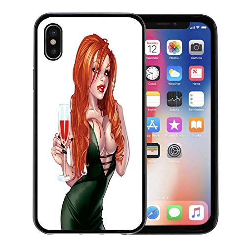 Semtomn Phone Case for Apple iPhone Xs case,Green Sexy Vampire Pinup Girl Cartoon Woman Beautiful Beauty Blood for iPhone X Case,Rubber Border Protective Case,Black]()