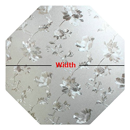 Precut Floral Glass Privacy Octagon Window Film, Self Static Adhesive Cling, 20 inches -