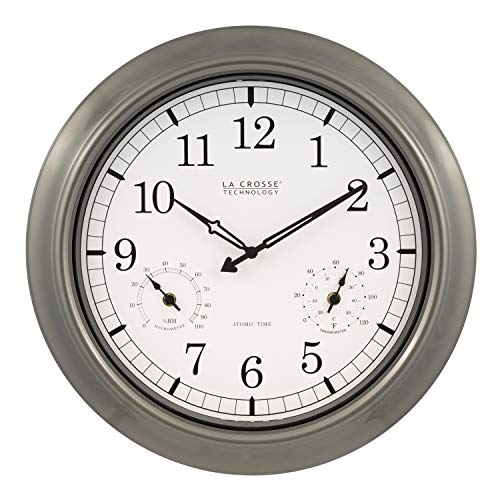 Clock Atomic Outdoor Wall - La Crosse Technology WT-3181PL-INT 18 inch Atomic Outdoor Clock with Temperature & Humidity