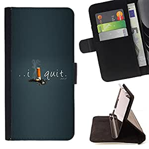 BullDog Case - FOR/Samsung Galaxy Note 3 III / - / smoking quit cigarettes I help motivating /- Monedero de cuero de la PU Llevar cubierta de la caja con el ID Credit Card Slots Flip funda de cuer