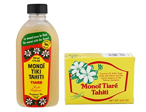 Monoi Tiki Tahiti Tiare and Monoi Tiare Tahiti Gardenia Soap Bar Bundle With Coconut Oil, Vitamin E and Gardenia, 4 fl. oz. and 4.55 oz