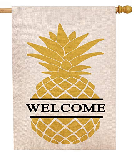 Dyrenson Decorative Double Sided Pineapple Large House Flag Burlap Yellow Welcome Quote, House Yard Flag, Garden Yard Decorations, Home Seasonal Outdoor Flag 28 x 40 Spring Summer (Pineapple House Welcome)