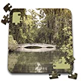 3dRose Stamp City - architecture - Photograph of white bridge at Magnolia Plantation and Gardens. - 10x10 Inch Puzzle (pzl_289749_2)