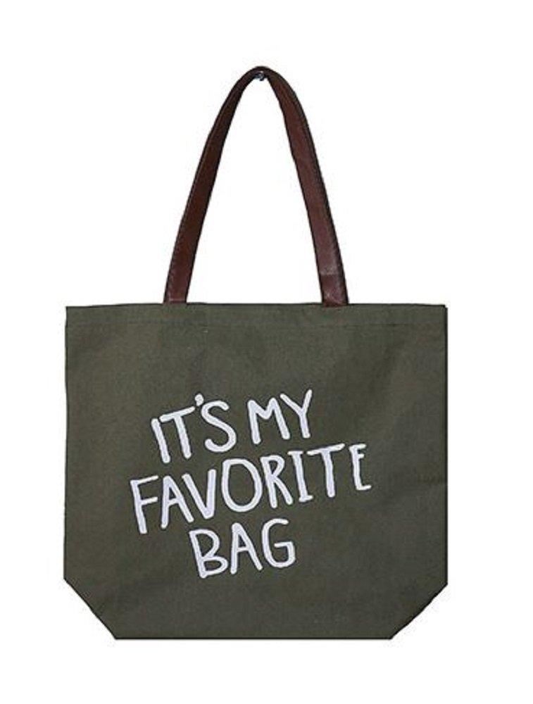 RI001 It's My Favorite Bag, Olive Green Tote Bag, 17'' x 15''.
