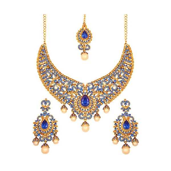 Touchstone Indian Bollywood Bridal Jewelry Necklace in Antique Gold Tone for Women