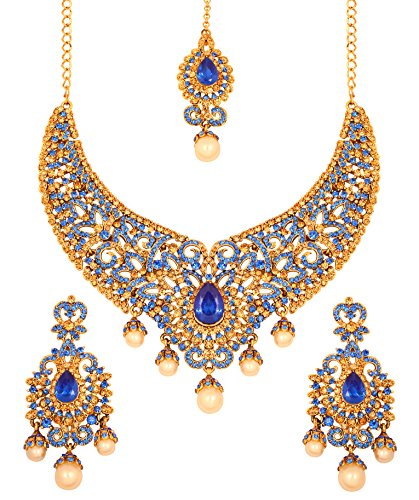 (Touchstone Indian Bollywood Bridal Jewelry Necklace in Antique Gold Tone for Women)