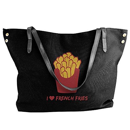 Love Shoulder I French Large Hobo Handbag Bag Women's Black Canvas Tote Fries Messenger Tote tUwqAR6Yx