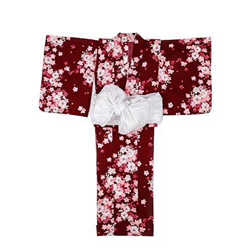 未来あえぎ最後のSmileレディース浴衣 着物 仕立て上がり 洗える ワインレッド 結び帯 飾り紐 腰紐 桜の柄 綿100 高級 綿麻 花火大会 お祭り