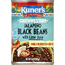 Kuner's Black Beans Jalapeno, 15-ounces can (Pack of 12) 6 Pack of twelve, 15-ounce (total of 180-ounce) Gluten free and wheat free Made with the finest black beans and add jalapeno peppers