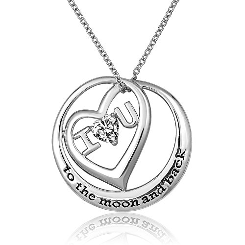 925 Sterling Silver Circle I Love You To The Moon And Back Heart Birthstone Crystal Pendant Necklace 18''