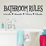 "49.6*13.0"" (Black, Large) Bathroom Rules Wash Brush Floss Flush Removable Vinyl Wall Stickers Home Decal Decor Quote Saying Wall Sticker for Bathroom"