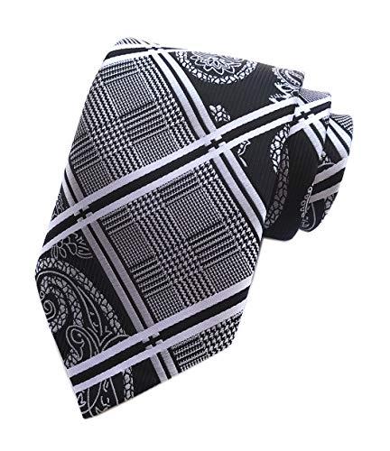 Men's Black and White Ties Geometric Plaids Striped Patterned Wedding Neckties