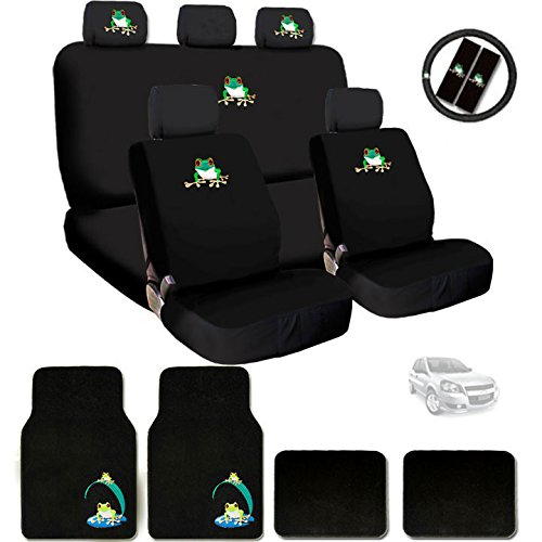 New Embroidery Frog Car Seat Cover Headrest and Steering Wheel Cover Floor Mats Gift Set (Fun Car Seat Covers)