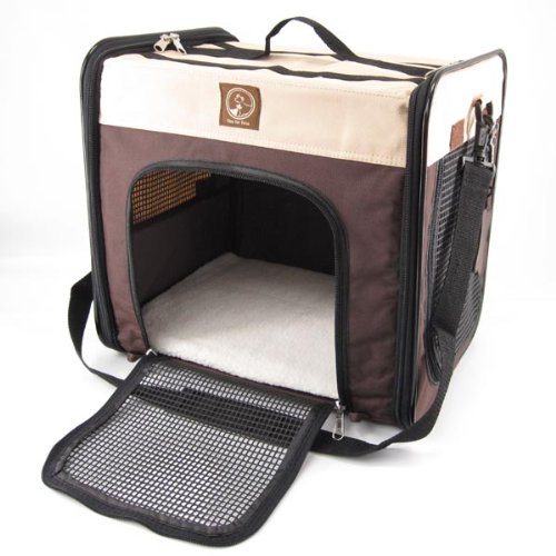 One for Pets Folding Pet Carrier, The Cube, Large, Cream/Brown