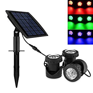 51 82JeqQVL. SS300  - Powstro 3pcs Solar Powered Spotlights LEDs Super Bright Solar Powered Submersible Lamps RGB Color Changing Projection Light Outdoor LED Landscape Spotlight Solar Fish Tank Fountain Underwater Lighting