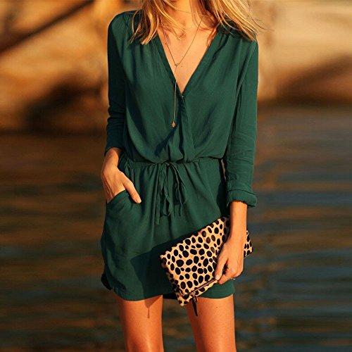 Culater® Mini-robe Casual été Femme col V Vert à Manches Longues en Mousseline de soie