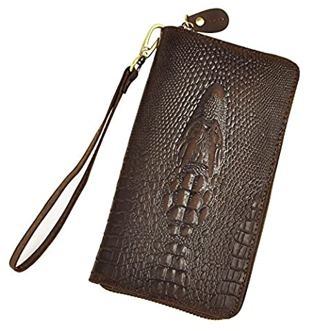 Le'aokuu Mens enuine Leather Clutch Hand Bag Organizer Checkbook Zipper Wallet (Brown Crocodile)