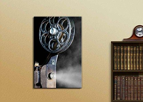 Vintage Retro Style Movie Projector with The Film Wall Decor Wood Framed