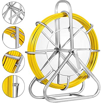 Image of Happybuy 6mm425ft Duct Rodder Fish Tape Continuous Fiberglass Wire Cable Running with Cage and Wheel Stand, 6MM 425FT