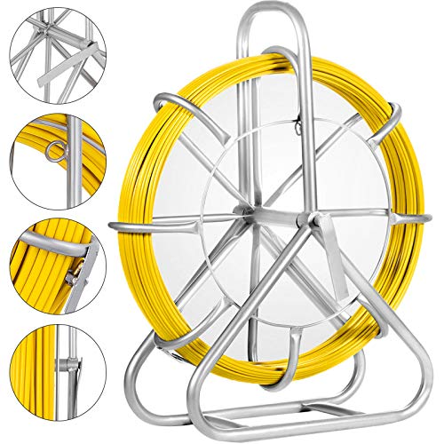 VEVOR Fish Tape Fiberglass 6MM 425FT Duct Rodder Fish Tape Continuous Fiberglass Wire Cable Running with Cage and Wheel Stand (425FT)