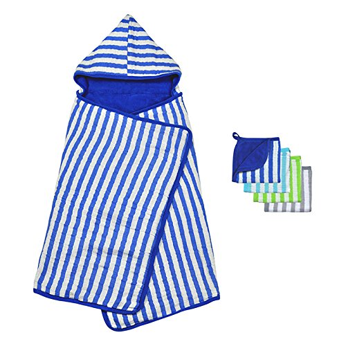 - Green Sprouts Muslin Toddler Towel and Washcloth Set made from Organic Cotton, Blue
