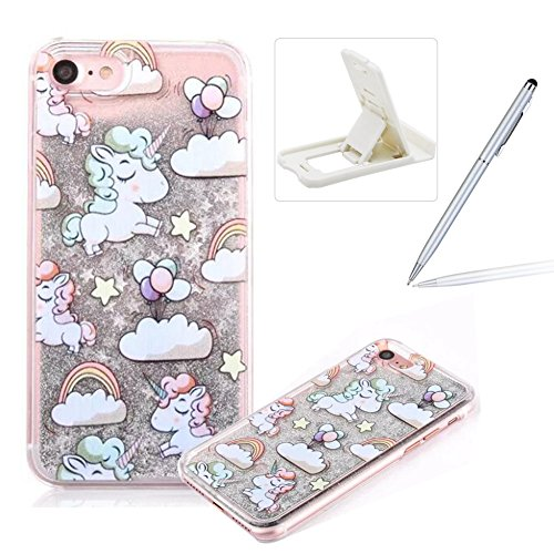 Liquid Hard Case for iPhone SE,Silver Glitter Clear Case for iPhone 5S,Herzzer Creative Funny Cartoon Unicorn Pattern Flowing Floating Stars Quicksand Sparkly Crystal Back Cover Case