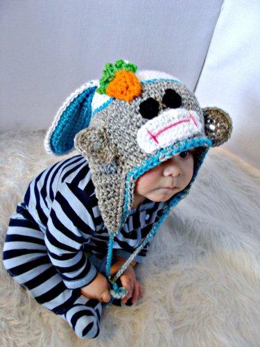 Crochet Sock Monkey Pattern - Easter Bunny Sock Monkey Hat Crochet Pattern PDF 527