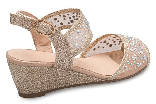OLIVIA K Girl's Peep Toe Rhinestone Ankle Strap with Adjustable Buckle Wedge Sandals - Adorable, Comfort, Casual by OLIVIA K (Image #2)