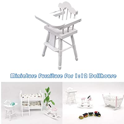 Boddenly 1:12 Dollhouse Miniature Furniture, 1 12 Scale Dollhouse Accessories, Garden Lawn Tiny Furniture Model for Doll House Toy Home, Miniature Baby High Chair: Home & Kitchen